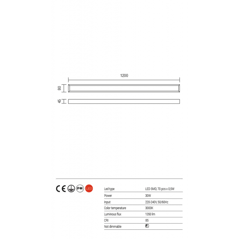 Aplica baie Horizon echipata cu LED structura din metal cromat 01-1132 Redo