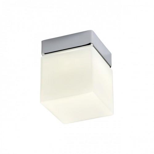 Aplica/Plafoniera LED Drip structură din metal cromat cu dispersor din sticlă suflată alb opal 01-1133 Redo