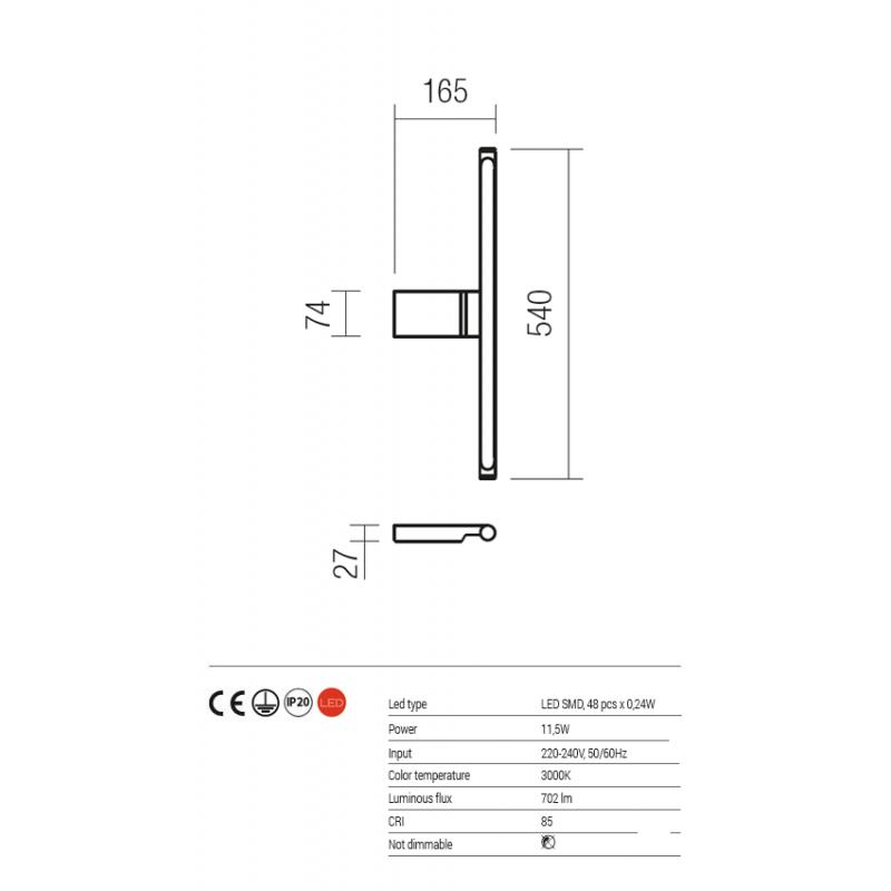 Aplica Alf pentru baie echipata cu led 01-1228 Redo