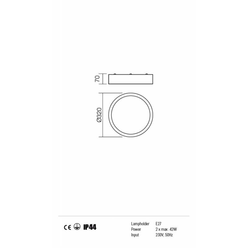 Plafonieră  Stark pentru interior protejată la umiditate, structură din metal cromat 01-746 Redo