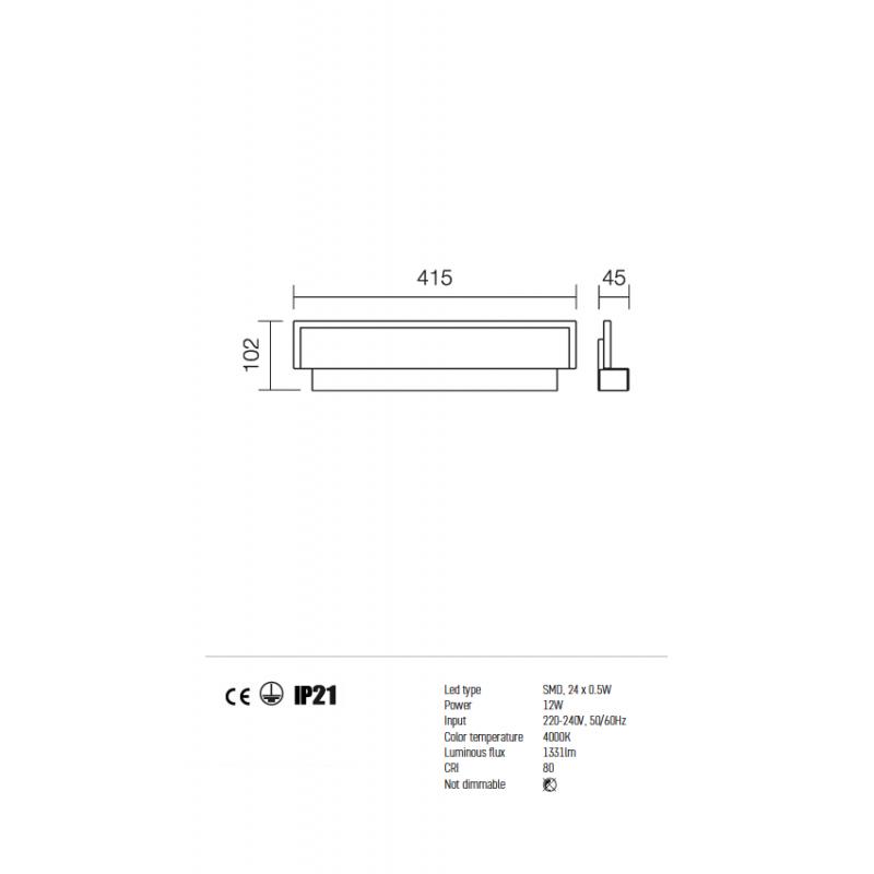 Aplică Well pentru interior echipată cu LED-uri SMD, structură din metal vopsită în câmp electrostatic 01-777 Redo