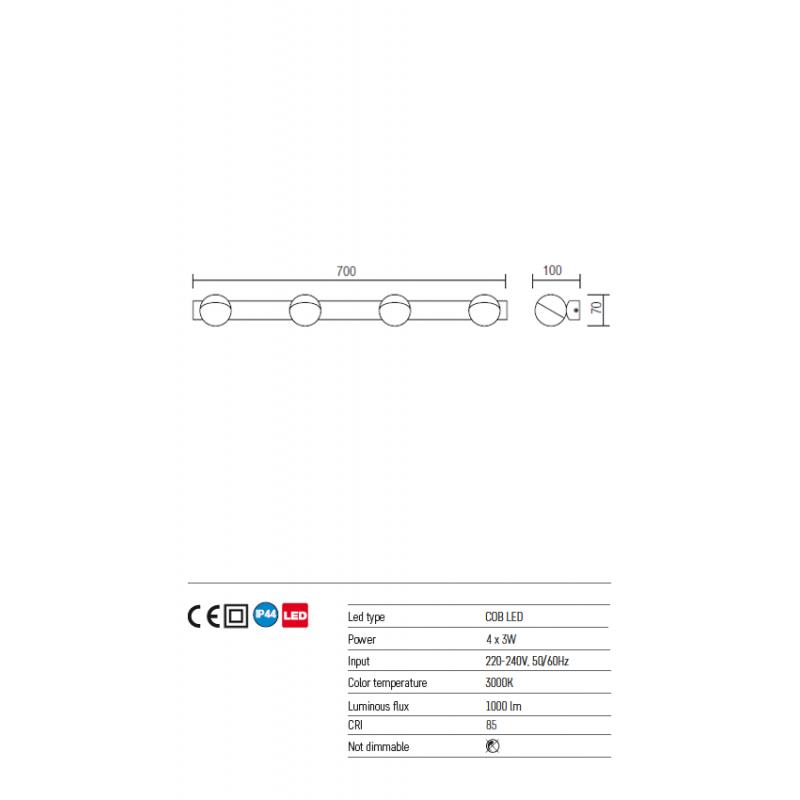 Aplica Player pentru baie echipata cu led 01-967 Redo