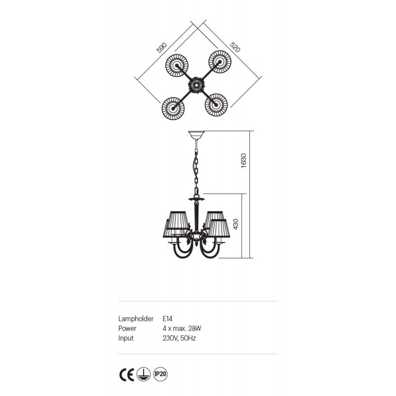Candelabru Ilaria 4 brate, structura metalica abajur textil 02-657 Incanti