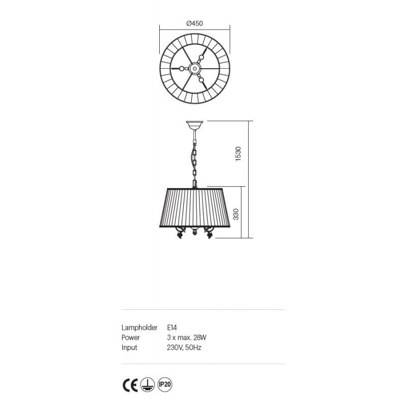 Suspensie Ilaria structura metalica abajur textil 02-659 Incanti