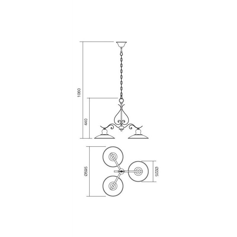 Lustra Lena structura metalica cu 3 brate E27 02-760 Incanti