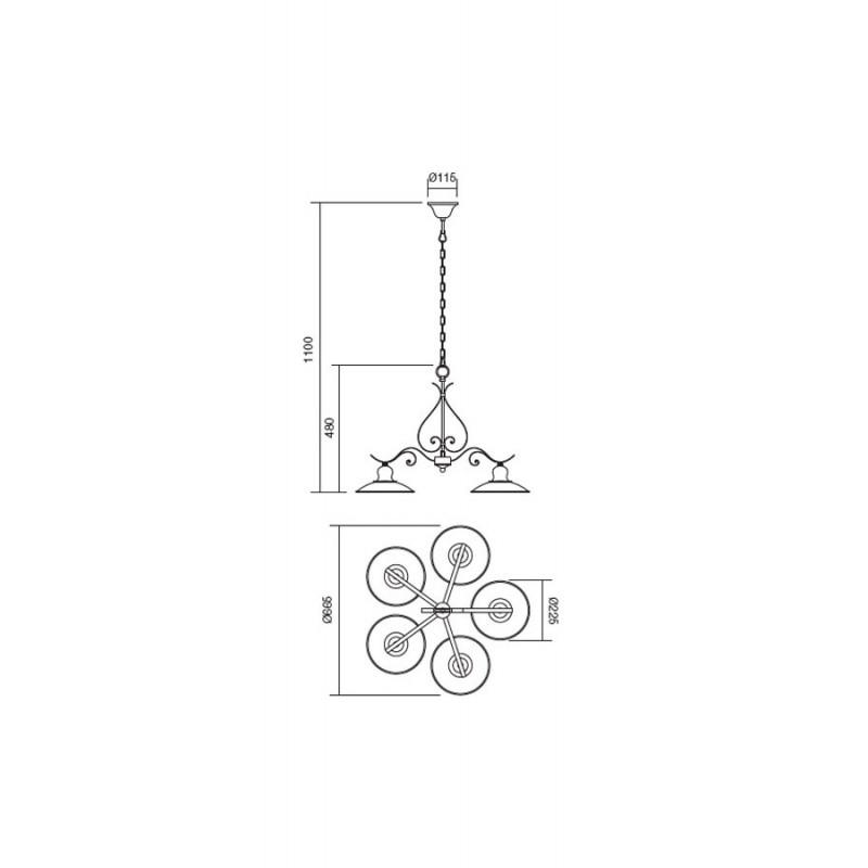 Lustra Lena structura metalica cu 5 brate 02-761 Incanti