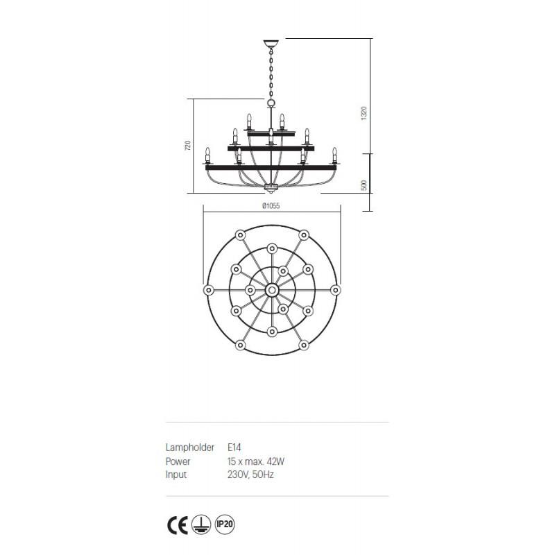 Candelabru Circus structura din metal lucrat manual ICU C15 03 Incanti