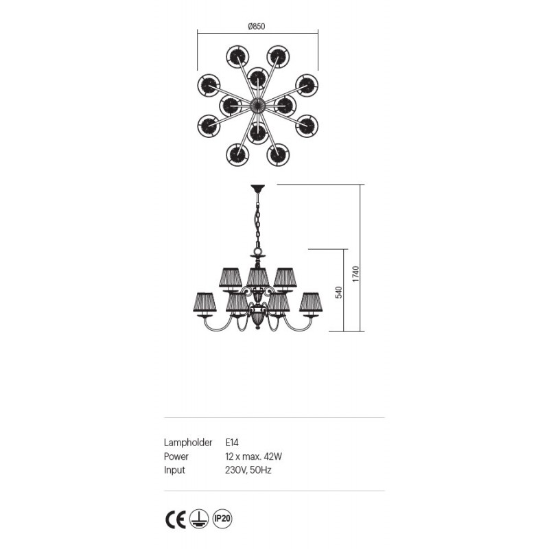 Candelabru Cloe structura metalica abajur din sifon si dantela ICL C12 14 01 Incanti