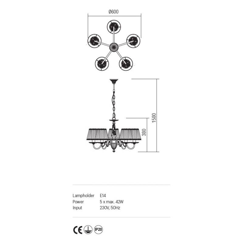 Candelabru Cloe structura metalica abajur din sifor si dantela ICL C5 14 01 Incanti