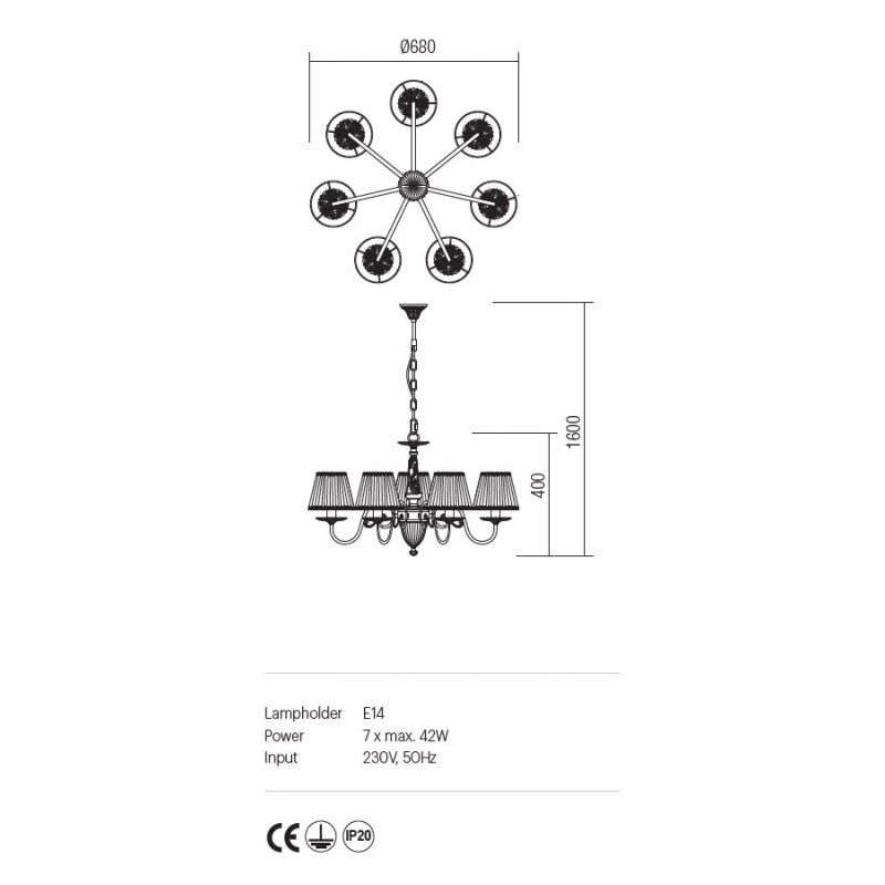 Candelabru Cloe structura metalica abajur din sifon si dantela ICL C7 14 01 Incanti