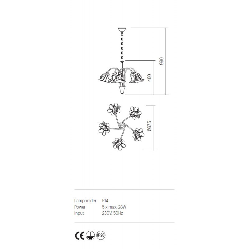 Candelabru Dalila structura din metal cu detalii din fier forjat IDL C5 05 Incanti
