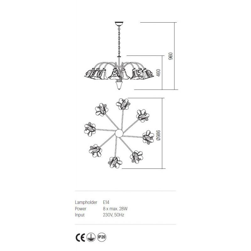 Candelabru Dalila structura din metal cu detalii din fier forjat IDL C8 05 Incanti