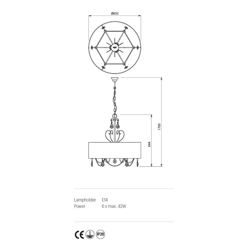 Candelabru Desiderio structura metalica abajur tip crepon IDE C6 Incanti