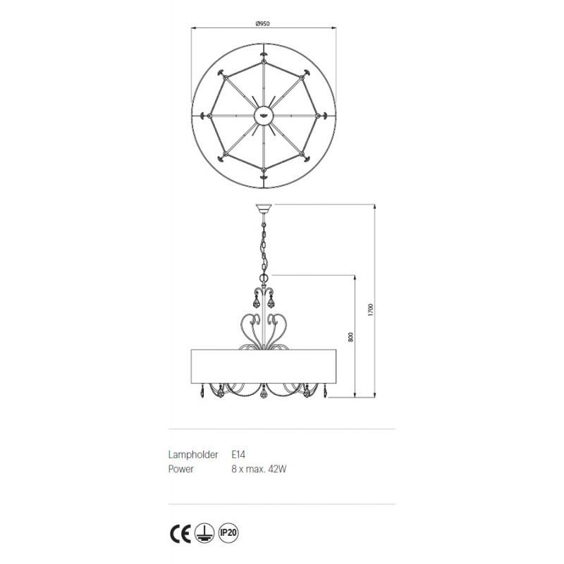 Candelabru Desiderio structura metalica abajur tip crepon IDE C8 Incanti