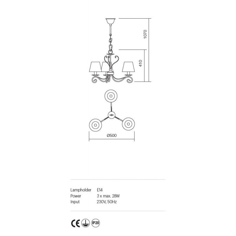 Candelabru Ema structura metalica abajur textil 02-596 Incanti