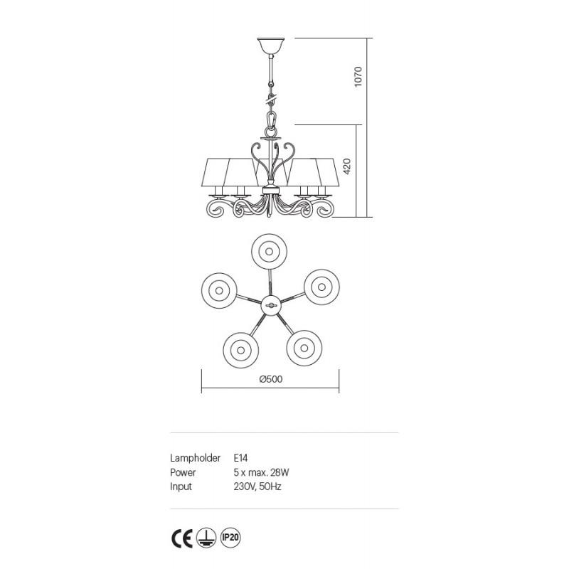 Candelabru Ema structura metalica abajur textil 02-597 Incanti
