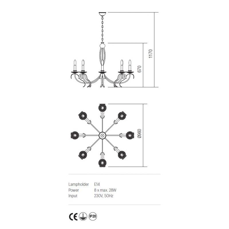 Candelabru Etoile structura din metal finisata maron IET C8 02 Incanti