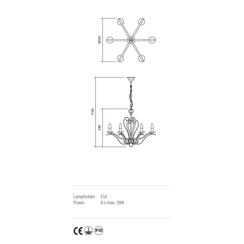 Candelabru Fenice structura metalica finisaj negru 02-813 Incanti