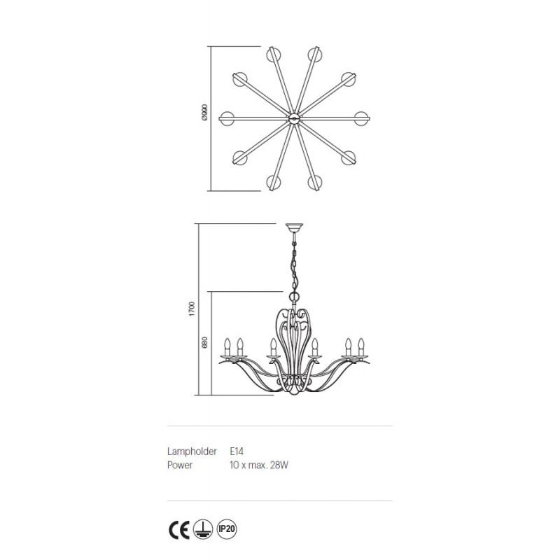 Candelabru Fenice structura metalica finisaj aur patinat 02-814 Incanti