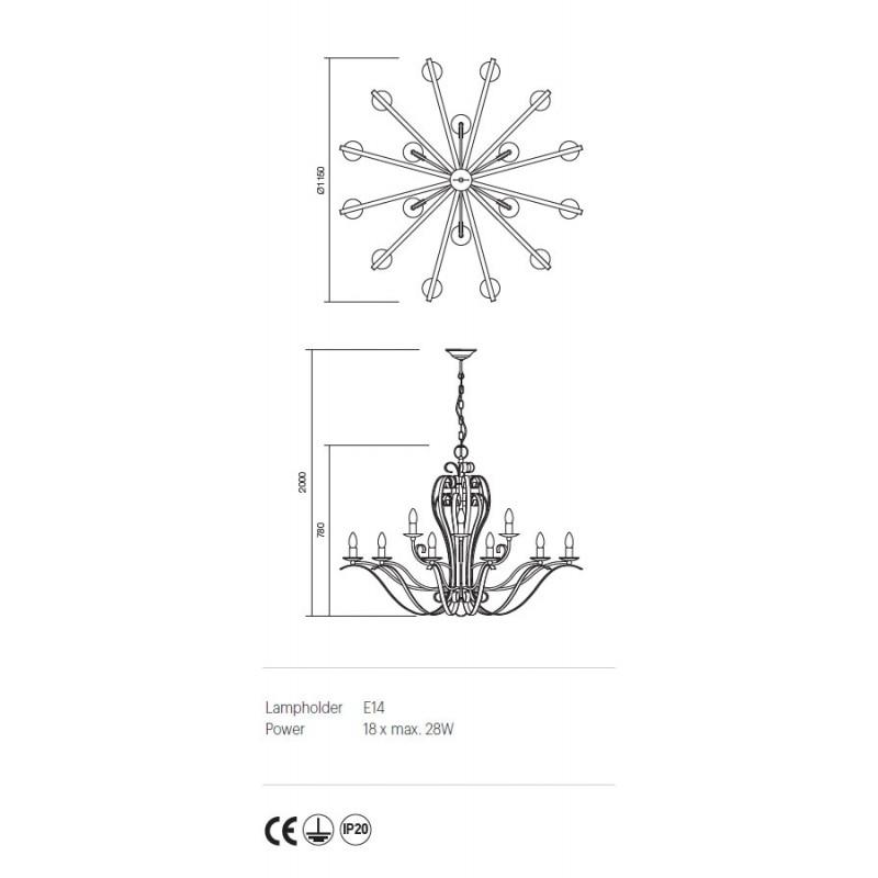 Candelabru Fenice structura metalica finisaj negru 02-817 Incanti
