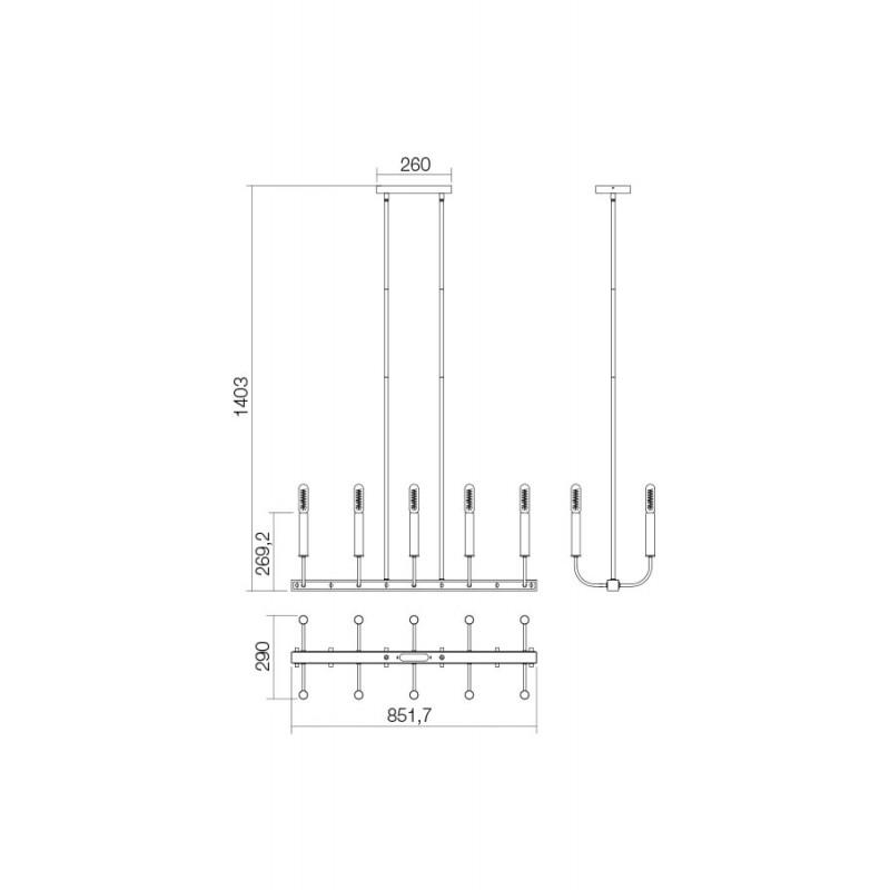 Candelabru Konig structura metalica cu elemente metalice IKN C10 06 12 Incanti