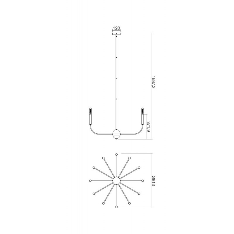 Candelabru Konig structura metalice cu elemente metalice IKN C12 06 12 Incanti