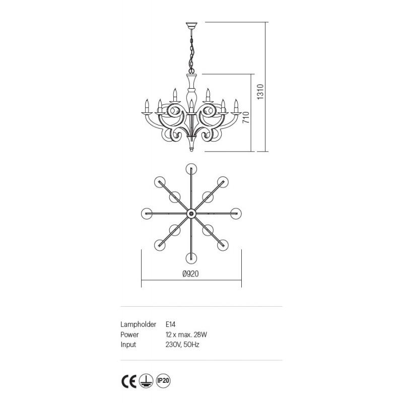 Candelabru Medea structura metalica finisaj alb IMD C12 01 Incanti