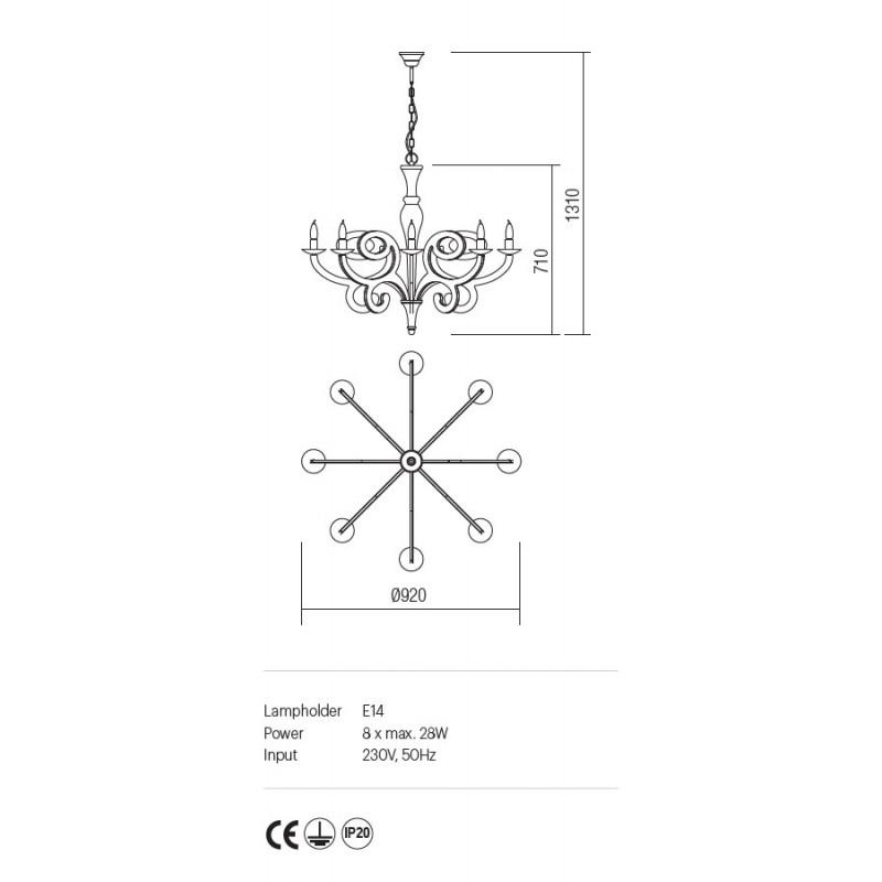 Candelabru Medea structura metalica finisaj alb IMD C8 02 Incanti