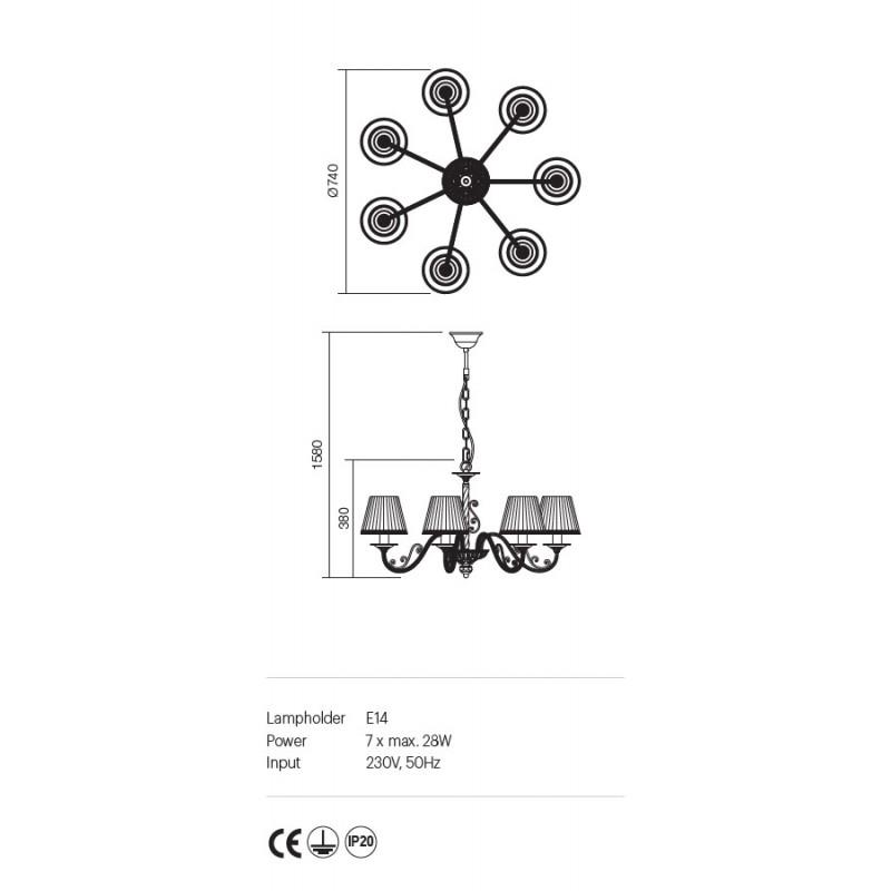 Candelabru Milena structura metalica abajur textil 02-731 Incanti
