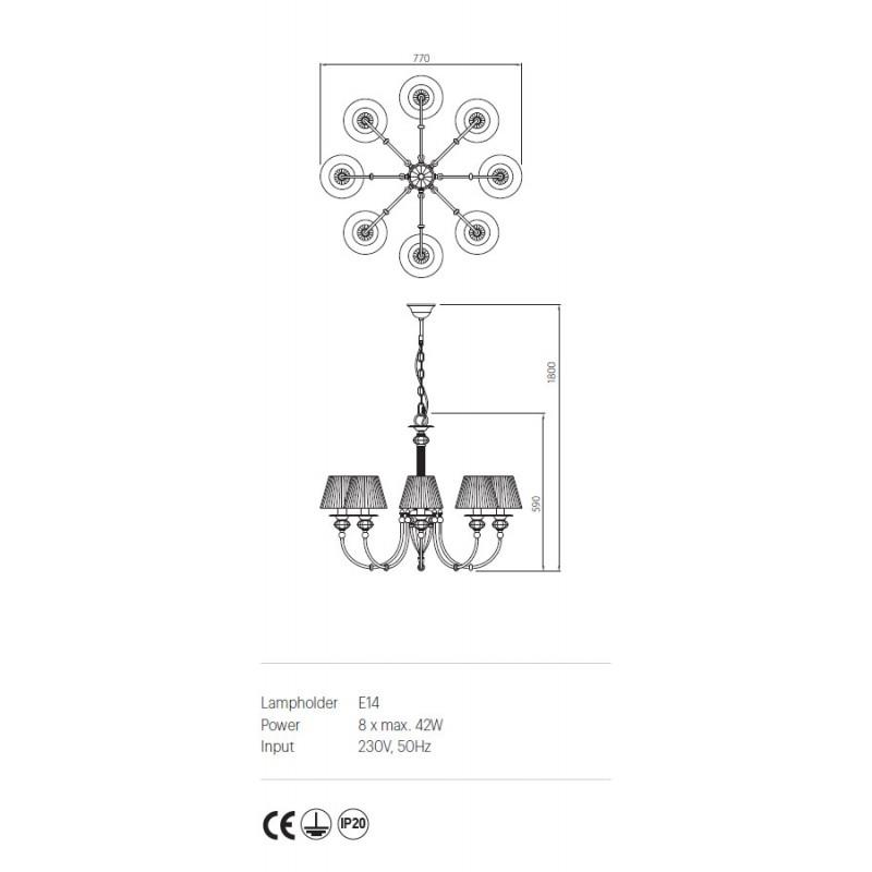 Candelabru Tempra structura metalica abajur din organza ITP C8 12 02