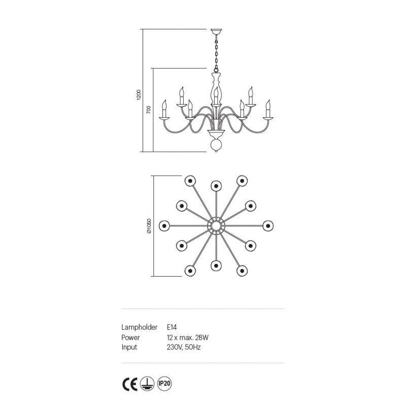 Candelabru Yvette structura metalica finisaj avorio 02-773 Incanti