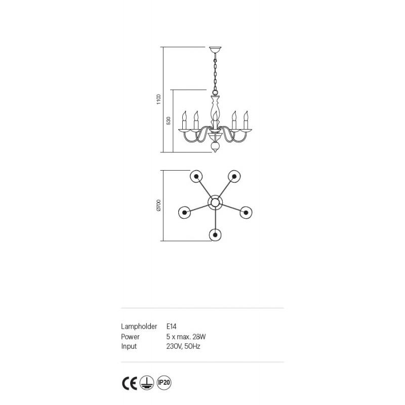 Candelabru Yvette structura metalica finisaj nuc deschis 02-867 Incanti