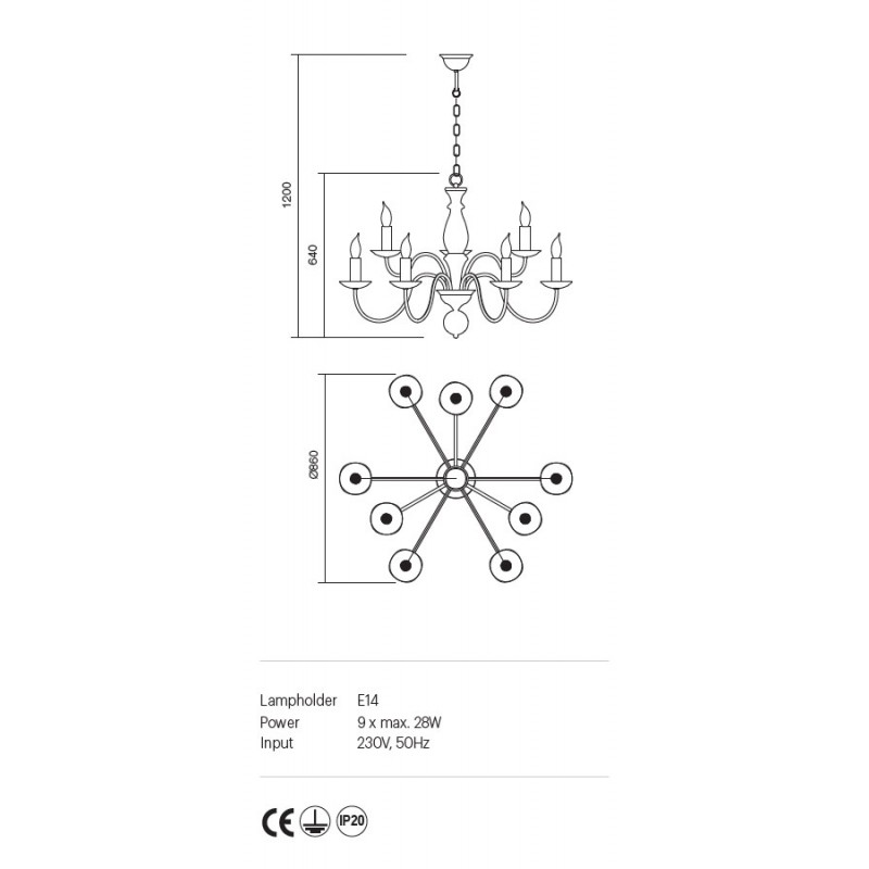 Candelabru Yvette structura metalica finisaj nuc deschis 02-868 Incanti