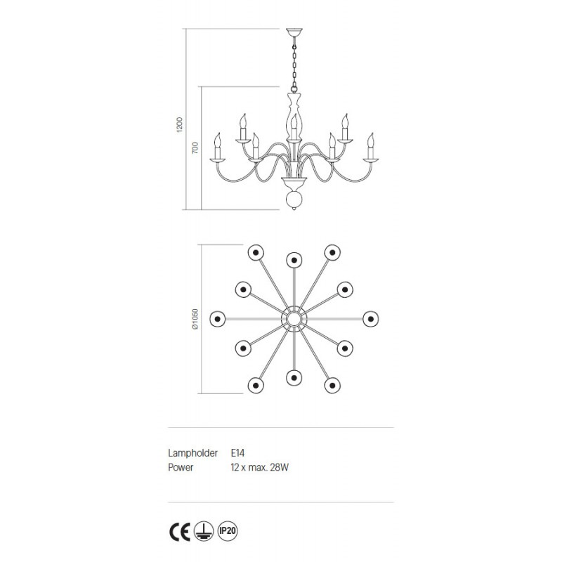 Candelabru Yvette structura metalica finisaj nuc deschis 02-869 Incanti