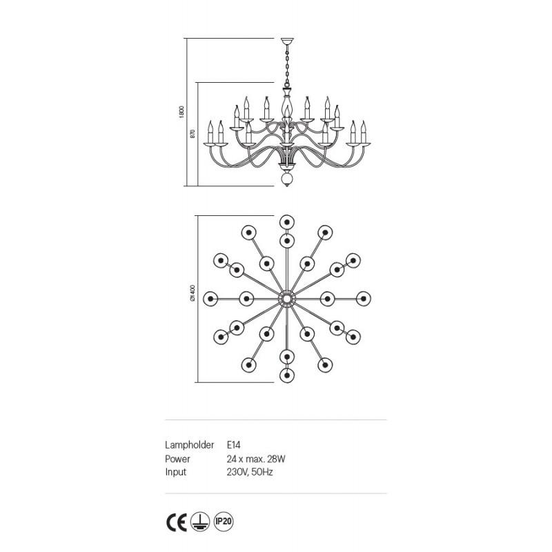 Candelabru Yvette structura metalica finisaj nuc deschis 02-870 Incanti