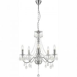 Lustra clasica pentru interior William cu structura metalica si decoratiuni din acril transparent 63129-5 Globo