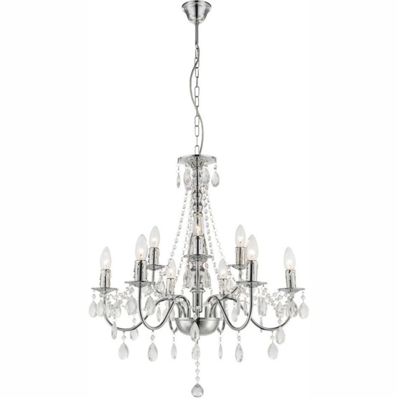 Lustra clasica pentru interior William cu structura metalica si decoratiuni din acril transparent 63129-9 Globo