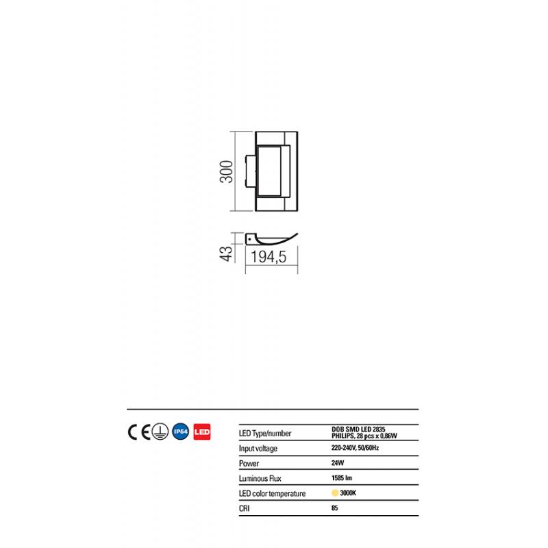 """Aplică  Vela pentru exterior cu distribuție luminoasă directă/indirectă echipată cu LED-uri SMD și driver """"on board"""" 9112 Redo Outdoor"""