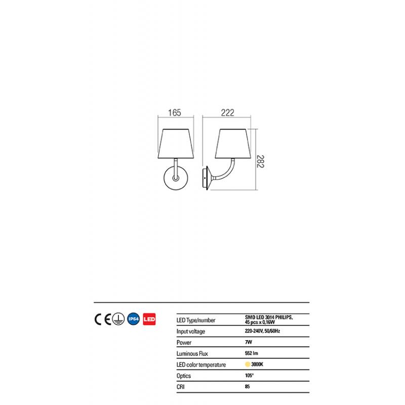 Aplica exterior Giorgio echipata LED structura din aluminiu alb mat 9124 Redo