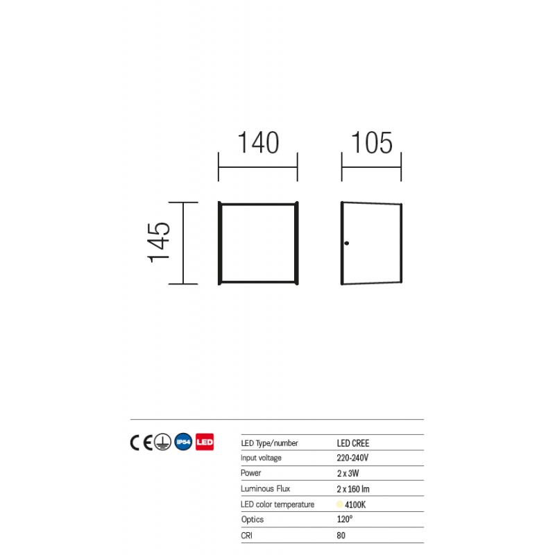Aplica Led pentru exterior Vary din aluminiu alb mat 9140 Redo