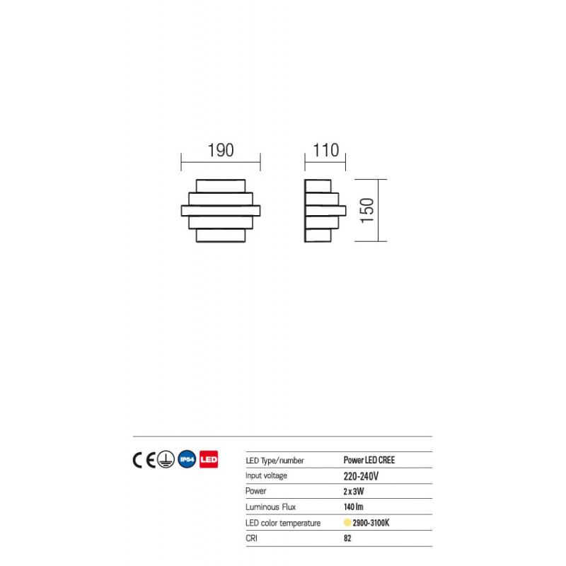 Aplica Power Led pentru exterior Quixo din aluminiu alb mat 9159 Redo