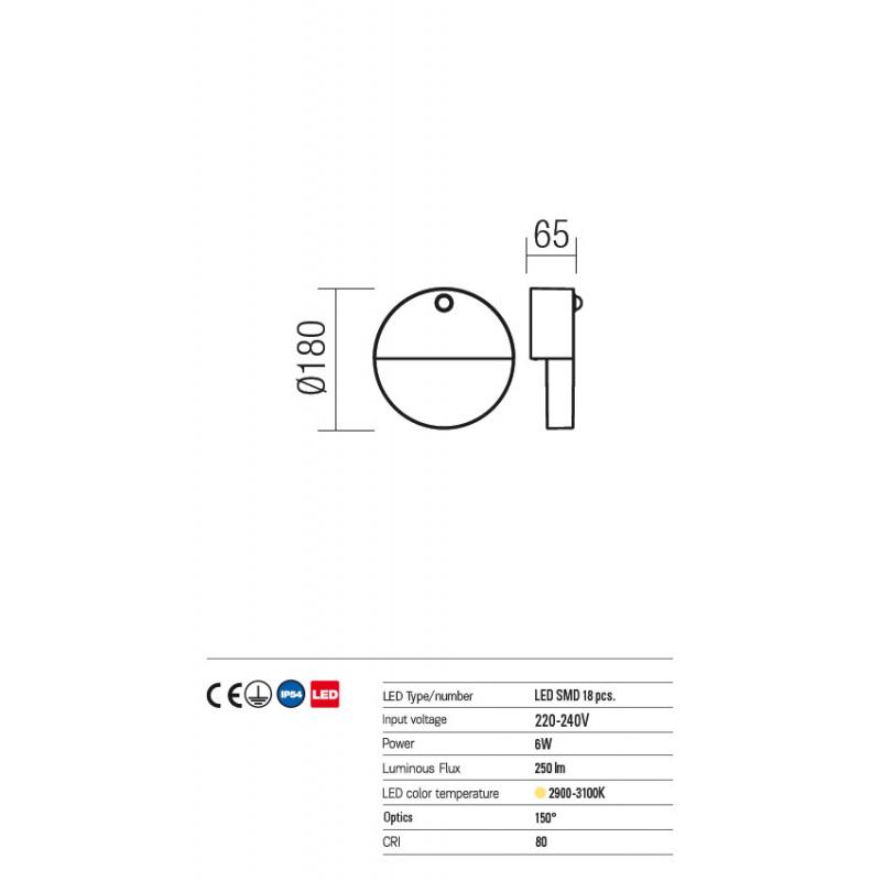 Aplica led SMD si senzor de prezenta Face din aluminiu gri inchis 9162 Redo