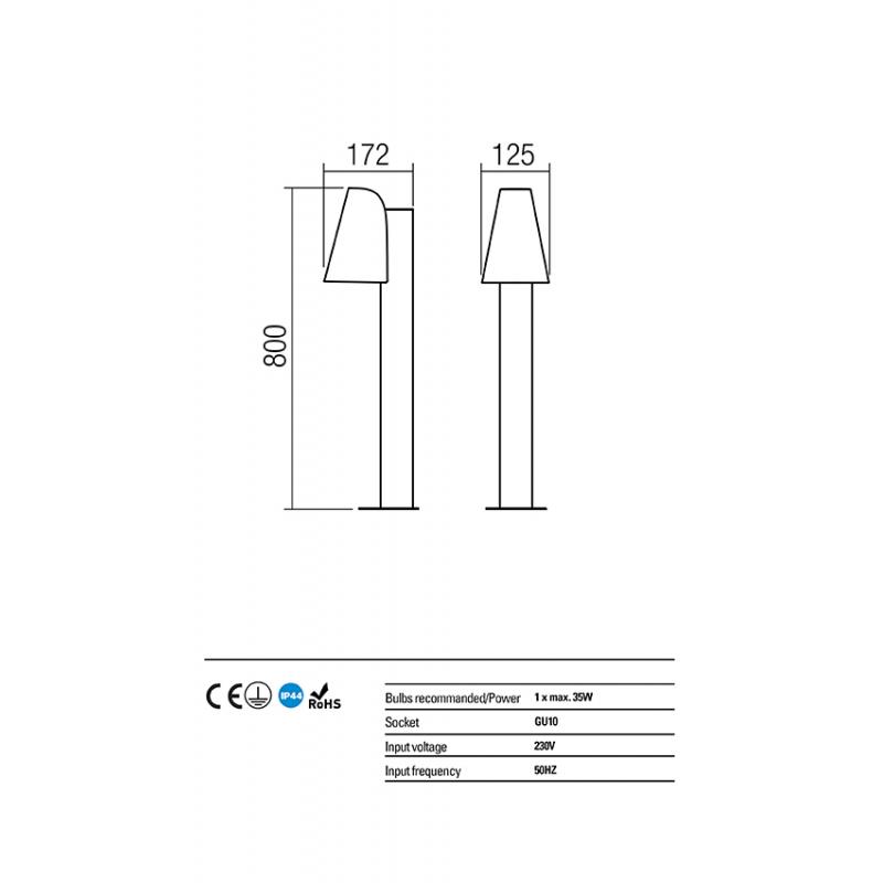 Stalpisor pentru exterior Alvar structura aluminiu maro inchis GU10 9532 Redo