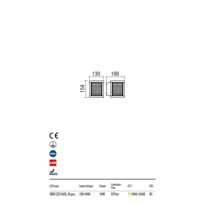 Aplica Xiera pentru exterior echipata cu LED 10W structura metalica negru mat 9566 Redo