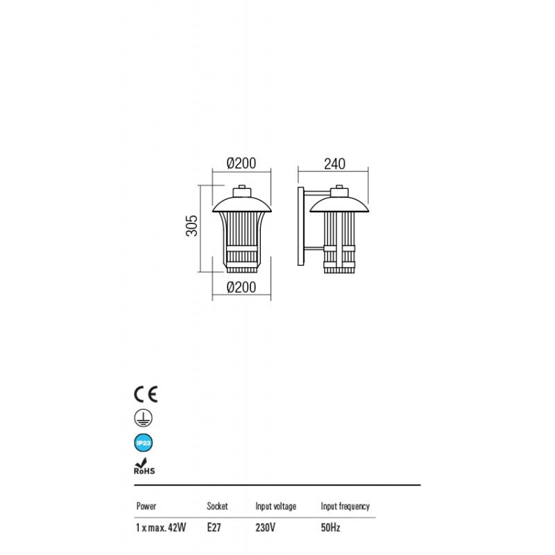 Aplica Norge pentru exterior structura metalica maro inchis 9574 Redo