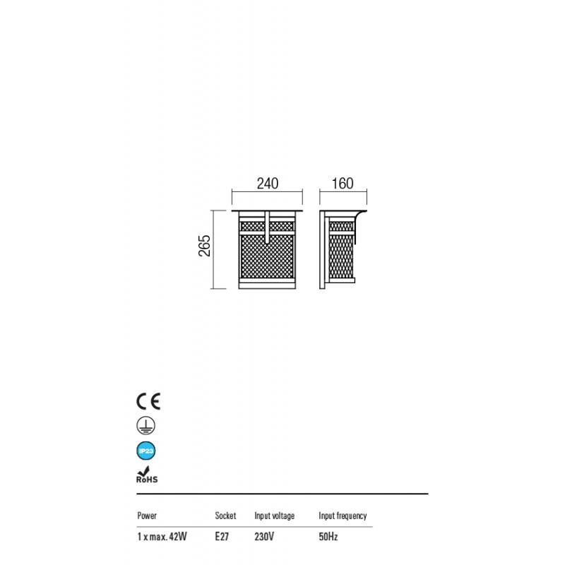 Aplica Visir pentru exterior structura metalica maro inchis 9577 Redo