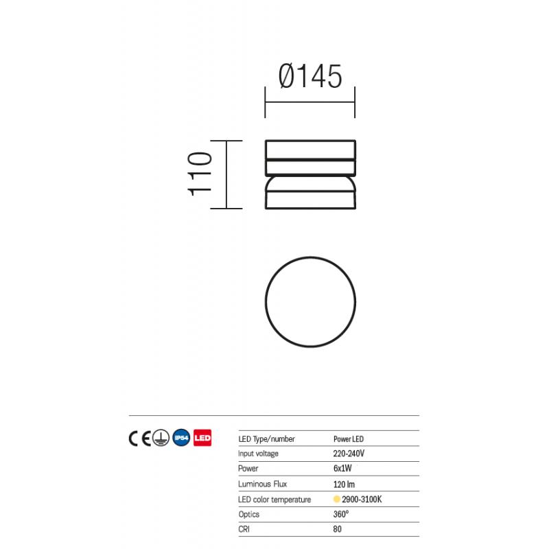 Aplica/plafoniera Power Led pentru exterior Cyclo aluminiu gri inchis 9684 Redo