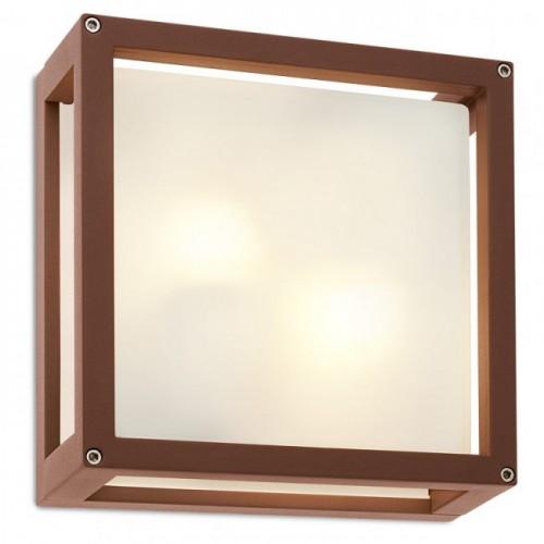 Aplica/plafoniera pentru exterior Brick Glass din aluminiu culoare ruginie 9893 Redo