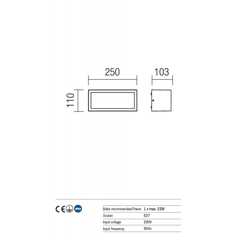 Aplica pentru exterior Brick din aluminiu culoare ruginie 9897 Redo