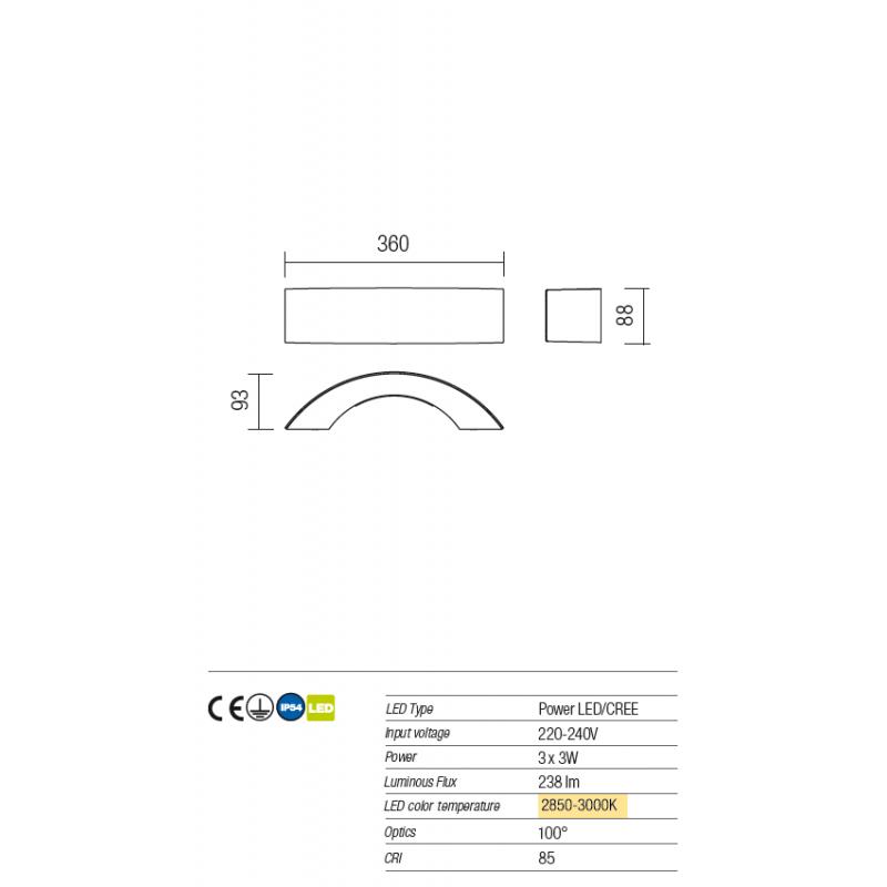 Aplica Led pentru exterior Eclipse din aluminiu gri inchis 9903 Redo